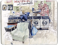 Majestic Laundrette (Wil Freeborn) Tags: moleskine sketch glasgow journal watercolour majestic laundrette