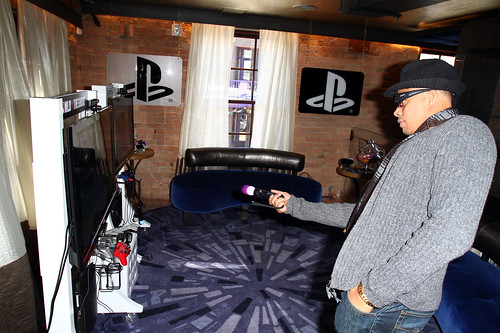 Actor Terrence Howard plays a PS3 at the PlayStation Green Room