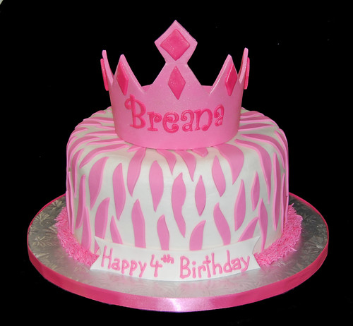 white nad pink zebra print tiara 4th birthday cake
