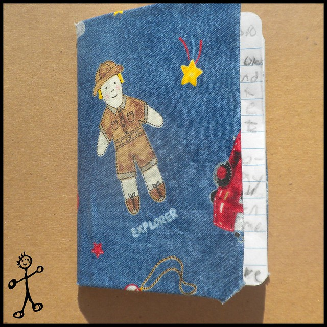 Fabric covered mini book, explorer
