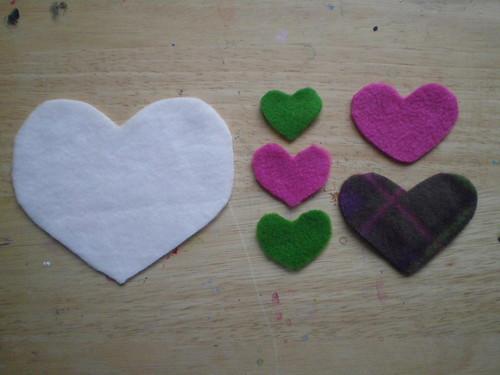 Fleece heart shapes