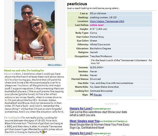 bruce pearl dating site profile