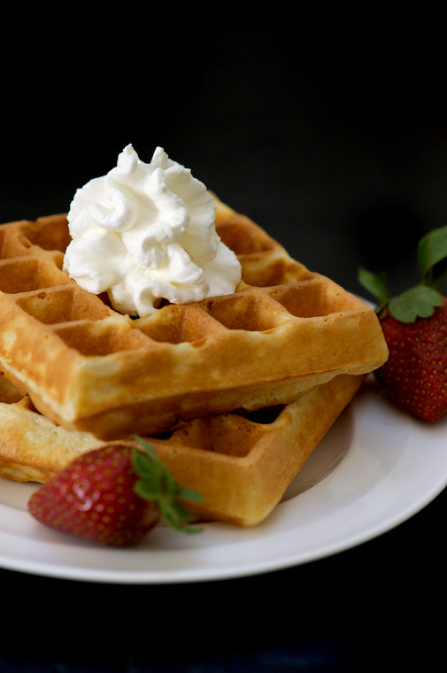 Belgian Waffles with Strawberries, Honey and Fresh Whipped Cream ...