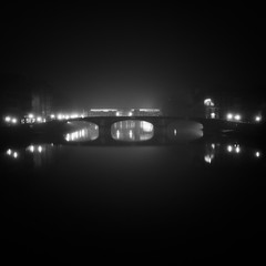 Somewhere Between Waking and Sleeping (Arianna_M) Tags: bridge water misty fog night river florence place air fiume ponte firenze luci arno nebbia acqua notte pontevecchio sogno tranquillit realt quietnight somewherebetweenwakingandsleeping