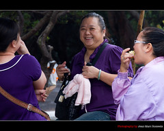 Purple Smiles (jean-marc rosseels) Tags: ladies woman colors lady canon indonesia java women purple smiles westjava canon7d