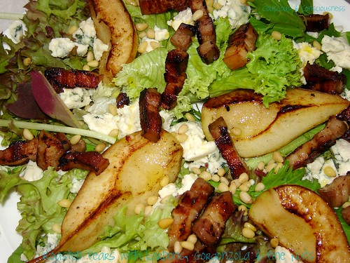 Roasted Pear Salad with Lardons, Gorgonzola & Pine Nuts 2