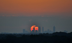 The Descent (Greg Foster Photography) Tags: city atlanta sunset sky orange sun silhouette fog skyline buildings georgia evening smog downtown day cityscape regionwide