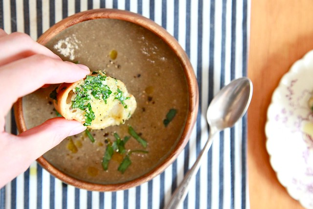 Vegan Cream of Mushroom Soup with not so vegan herb bread | Joy the ...