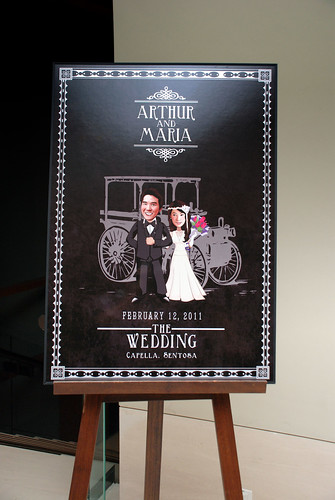 caricatrue live sketching for Arthur & Maria wedding dinner - a