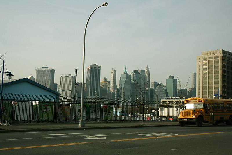 Manhattan Skyline, school bus.