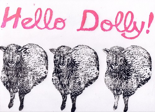 scan of Dolly linocut