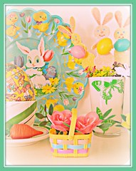 Happy Spring Things! (Pinks & Needles (used to be Gigi & Big Red)) Tags: new old roses bunny home glitter vintage easter cozy spring play display butterflies fresh retro shelf plastic baskets carrot eggs vase setup teacup decor decorate vignette saucer piddle putz flwoers 2011 gigiminor pinksandneedles
