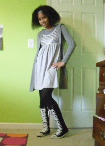 gray dress with  knee high converse chucks at tyler handmade