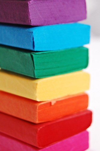 rainbow tissue paper stack