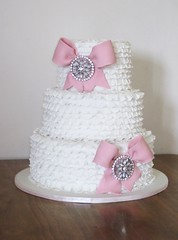 Frilly Wedding Cake. (Bee's Cake Design) Tags: pink wedding dusty cake pretty bows frill