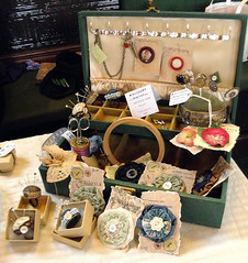 Treasure, Todmorden - Sewing Box display (Wychbury Designs) Tags: uk vintage treasure handmade craft stall fair pins event townhall accessories selling brooches todmorden pincushions sewingbox wychbury
