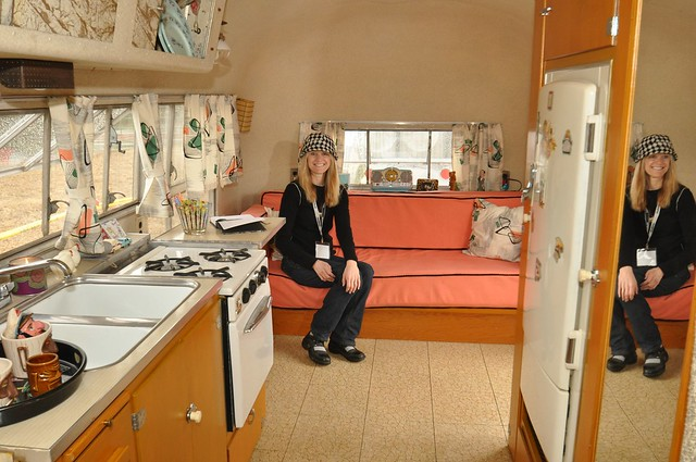Connie Ferrell in her Airstream Caravanner