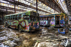 The wheels on the bus go .... (clyde essex) Tags: bus graveyard coach tram hdr glebe