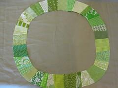 Single Girl on Essex Putty (littlbluecottage {littlebluecottage.wordpress.com}) Tags: green girl quilt fabric single essex linene