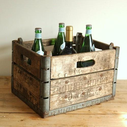 Vintage INDUSTRIAL Wood Metal Farm House Box