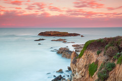 Pastel West Coast Sunrise (Jim Boud) Tags: ocean sanfrancisco california longexposure morning travel pink blue usa seascape water sunrise lens landscape dawn coast is rocks unitedstates pacific smooth wideangle cliffs historic highway1 usm halfmoonbay pigeonpoint ud artisticphotography ndfilter imagestabilization ndgradfilter jimboud cokinndfilter canoneos60d jamesboud canonefs1585mmf3556 tiffenndgradfilter