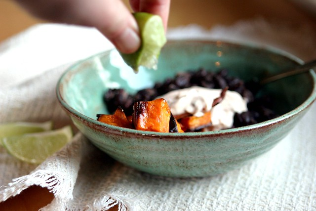 Roasted Yams and Black Beans