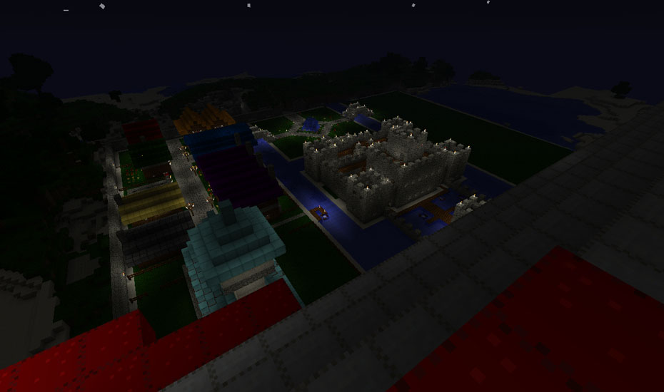 Minecraft - Night view of the town from the Airship
