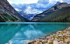 Storm Clouds Over Lake Louise (Jeff Clow) Tags: travel vacation lake storm mountains weather landscape getaway serene lakelouise albertacanada banffnationalpark canadianrockies