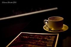 Conversation Piece (Photography JC) Tags: cup coffee shop menu unitedkingdom gb mysterious conversation piece teaspoon suacer