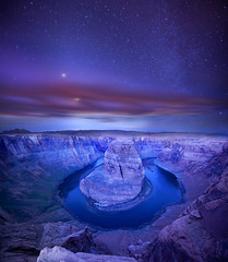 Starry Bend (andorpro) Tags: blue sunset arizona sky cliff moon water night clouds river stars page coloradoriver meander jupiter curve leesferry glencanyon horseshoebend southest