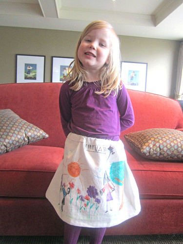Hannah models her new skirt