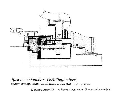 Дом на водопадом  («Fallingwater»), Фрэнк Ллойд Райт, план 3-ого этажа