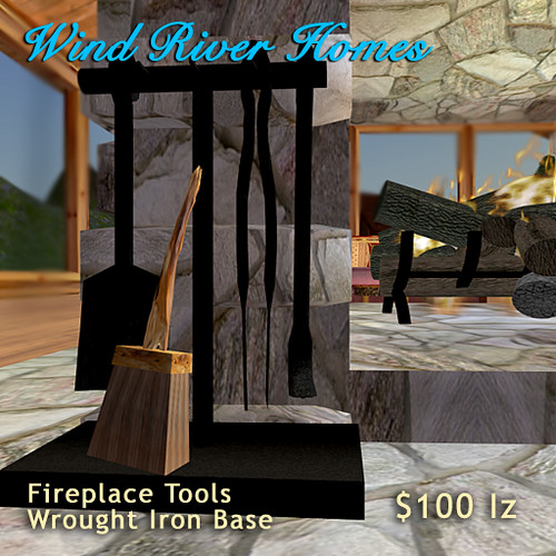 Fireplace Tools - Wrought Iron Base by Teal Freenote