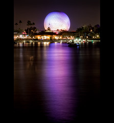 Glow (EXPLORED #1) (Mike Orso) Tags: world longexposure lake reflection night orlando epcot glow florida earth center disney spaceship wdw walt dri