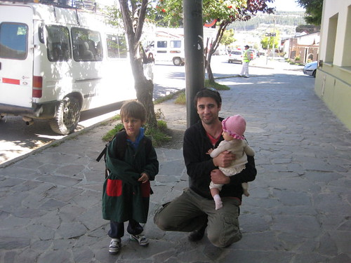 Joaquin being picked up after preschool in Esquel