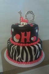 Girly Zebra Striped Cake (myocean111) Tags: birthday cake birthdaycake zebra zebrastripes blackandpink