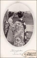 Hisafuku and Tamiko - Late Taisho / Early Showa Maiko (Naomi no Kimono Asobi) Tags: postcard maiko geiko kimono obi gion pontocho showa hanamachi taisho kanzashi nihongami haneri