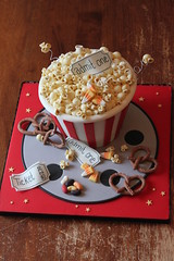 Movie night popcorn bucket demo (Andrea's SweetCakes) Tags: movie stars tickets candy stripes popcorn pretzels reel andreassweetcakes sweetcakers
