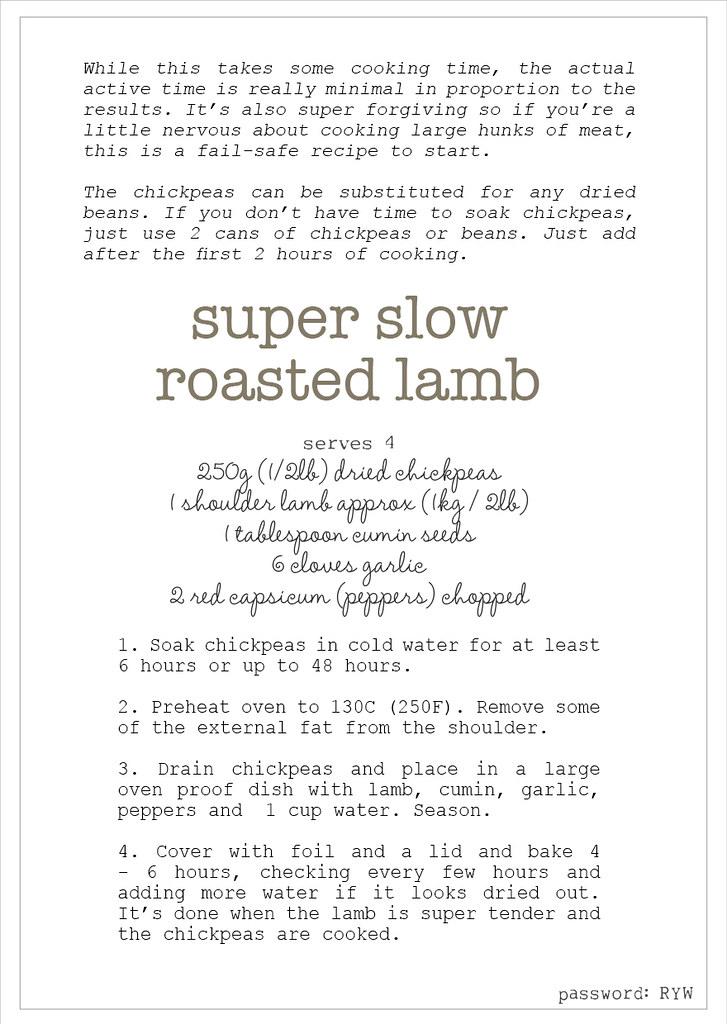 w4 slow roast lamb recipe