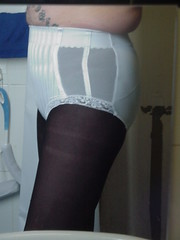 Me in my girdle again 3 (DONNYB-UK) Tags: white black tights lacy pantyhose girdle pantygirdle