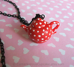 Little Red Teapot Necklace (Cantankerous Cupcake) Tags: red miniature necklace handmade polymerclay polkadots teapot teaparty