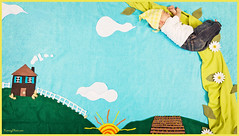 Evie & the Beanstalk (Kenney Photography) Tags: flowers blue chimney sky baby sun house cute green girl leaves fairytale clouds canon fence children photography book toddler infant child sleep farm wheat horizon nursery creative dream vine felt bean hills climbing story jeans newborn imagine hanging crops evie tot stalk tale bandanna rhyme fable whimsical picket beanstalk kenney 60d paku3d lolee3d kenneyphotocom fablekin
