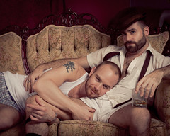 AK's Speakeasy - Dave & AK (davco9200) Tags: gay man guy vintage hug masculine muscle cuddle fedora wifebeater speakeasy