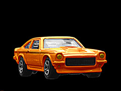 Ball O' Fire (Flint Foto Factory) Tags: city urban orange chicago chevrolet toy spring gm downtown view may front chevy hotwheels sunburn gt 1972 vega coupe burned sporty matchbox hatchback 2010 generalmotors 2door threequarter subcompact