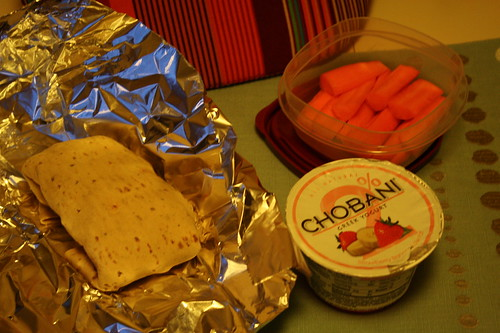 turkey, spinach, provolone wrap, chobani strawberry banana yogurt, carrots