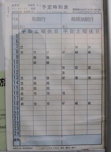 藤野駅発和田行きのバスの時刻表