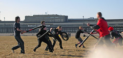 Erstes Jugger-Training auf Tempelhof