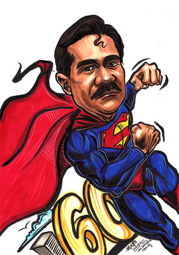 Superman caricature for The Tanglin Club