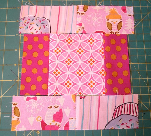 Altered Four Square Quilt Block Tutorial: Positioning the Framing Pair around the Sewn Middle pair