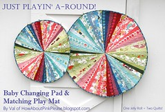 Changing pad and matching play mat (PinkPlease!) Tags: momo reversiblequilt babyplaymat circlequilt modabakeshop babychangingpad justwingit